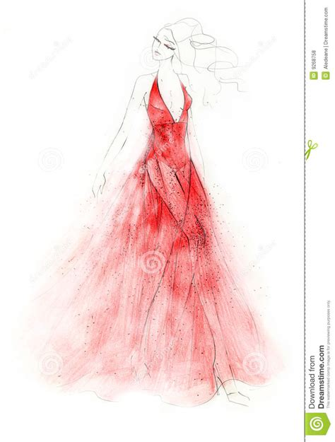 red dress fashion illustration royalty  stock
