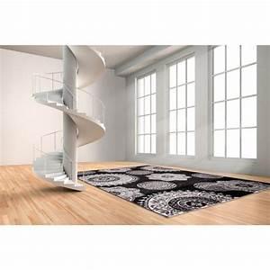 tapis aux velours fins contemporain noir meta allotapis With tapis d escalier contemporain