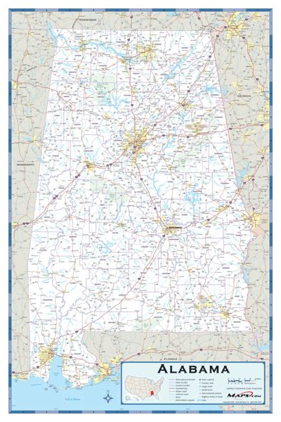 Alabama County Highway Wall Map By
