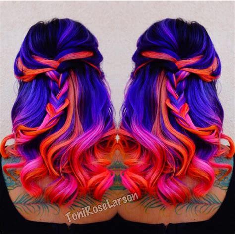 Black Blue Purple Pink Orange Hair Brightly Colored
