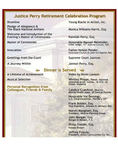 retirement celebration program samples