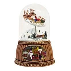 santa sleigh christmas snow globe musical moving ebay