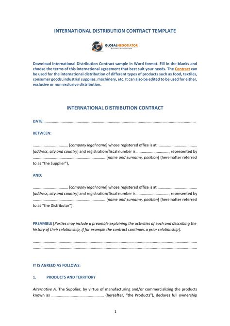 distributorship agreement contract forms