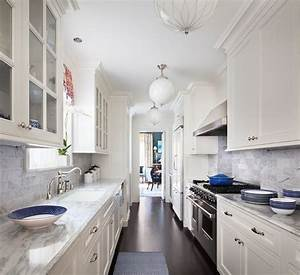 White Galley Style Kitchen with Pink Rug - Transitional ...