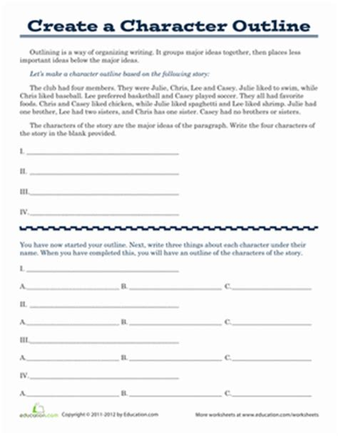 outline a fictional character worksheet education