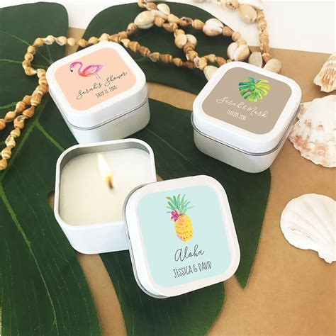 Personalized Candle Tin Wedding Favors Beach Wedding