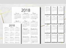 Jahreskalender und Monatskalender 2018 kostenlos