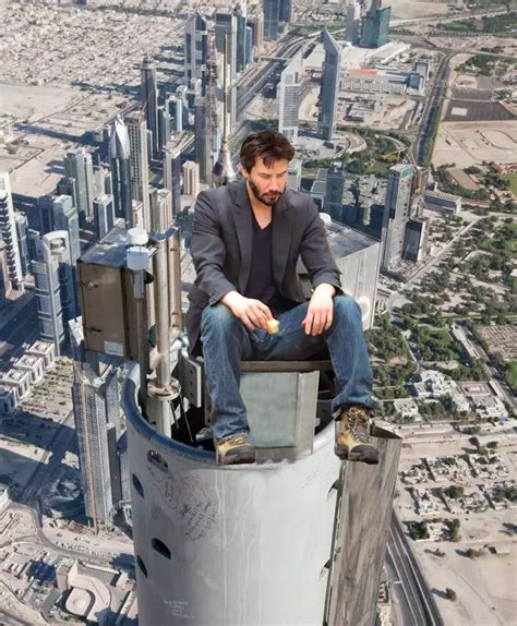 Psbattle Tom Cruise Sitting On Top Of Burj Khalifa