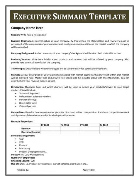Executive Summary Template Executive Summary Template Template Business