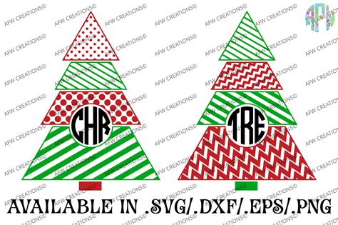 400+ free christmas tree art and graphics. Monogram Pattern Christmas Tree - SVG, DXF, EPS - AFW Designs