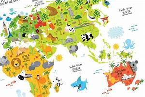 Bilingual World Map Poster for Kids in English-Chinese