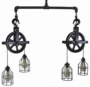 Double barn pulley ceiling light industrial pendant