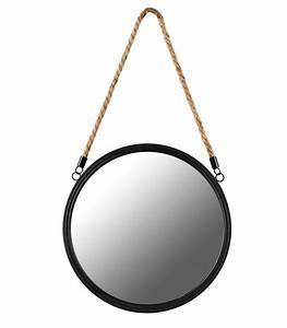Miroir Rond Suspendu : miroir mural rond suspendu noir ~ Teatrodelosmanantiales.com Idées de Décoration