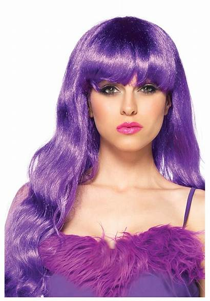 Purple Wig Wavy Hair Wigs Costume Perry