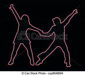 Drawing of Lets Party Dancing 70s Neon Outline Couple