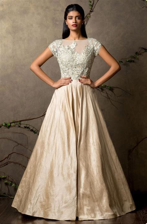 cream indowestern gown cream  gowns