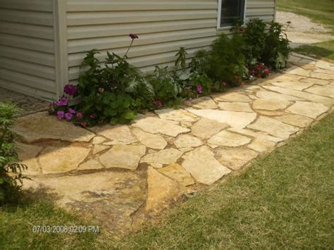 river rock patio flagstone path and paths on