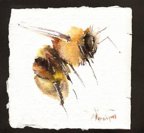 flying honey bee painting original watercolor painting