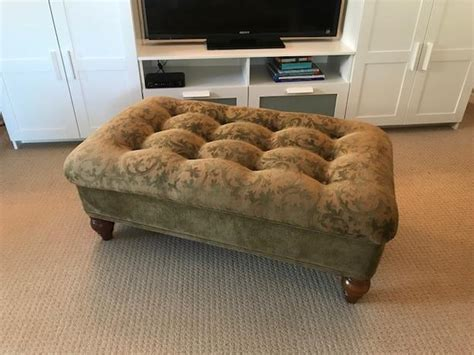 Because it is make of soft material, other than wood in the ottoman as the majority of the tables, it is a safe choice for families with young children. Beautiful Bombay Company upholstered ottoman coffee table with pull out tables Victoria City ...