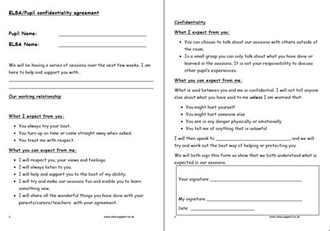 confidentiality agreement elsa support
