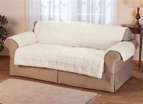Miles Kimball Waterproof Quilted Sherpa Sofa Protector By
