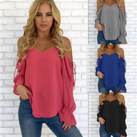 womens solid color sleeve open cold shoulder chiffon