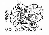 Coloring Animals Fish Columbine Cartoon Funny Gedankenlos Lovable Lustiges Fische Malbuch Akelei Forest Karikatur sketch template