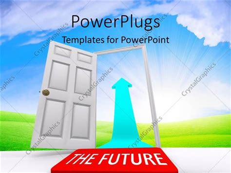 powerpoint template open door leading to the future with bright light in cloudy sky 29393