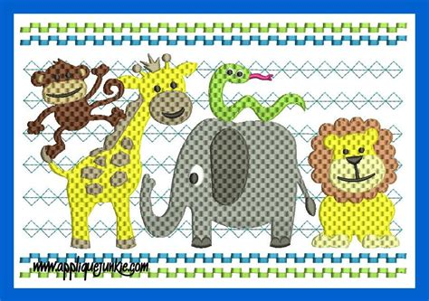 faux smocked zoo embroidery design applique junkie