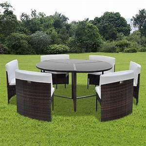 salon de jardin circulaire 6 places resine tressee With ensemble de jardin plastique 7 fauteuil de terrasse rouge en plastique