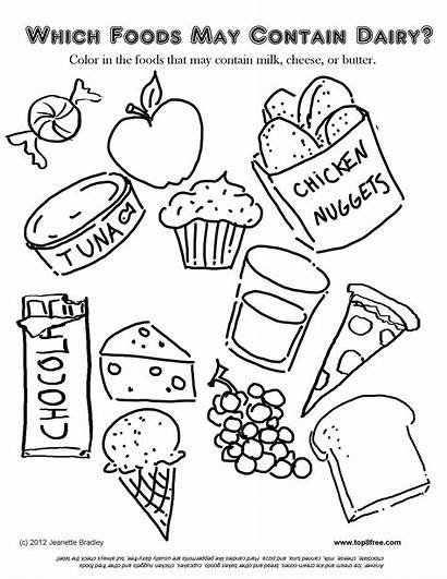 Coloring Pages Snacks Dairy Foods Printable Colouring