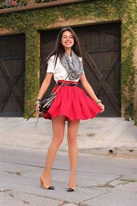 Cute white haf sleeveless blouse with red pleated short skirt and black leather cute hand bag ...