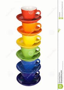Set of colorful cups. stock photo. Image of dishware ...