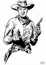 Coloring Cowboy Guns Drawing Printable sketch template