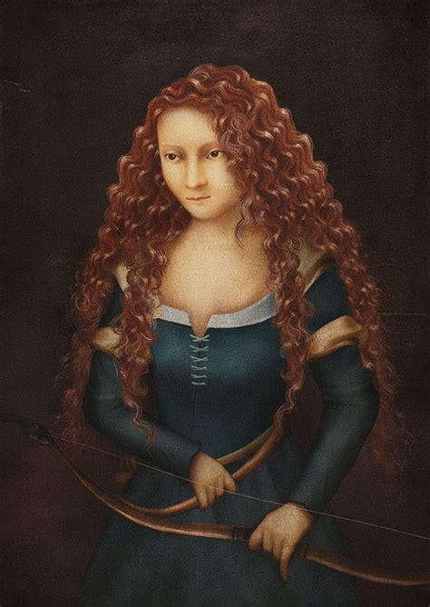 princesas de disney pintadas como retratos renacentistas