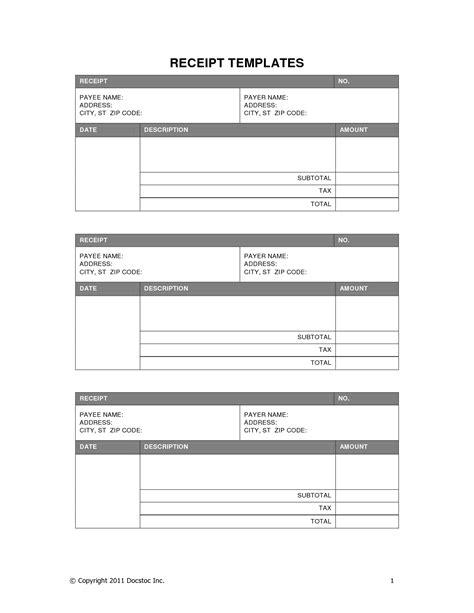 Free Receipt Template Printable Receipt Resume Trakore Document Templates