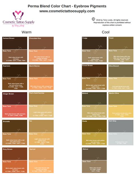 perma blend eyebrow color chart laminated terry livelys