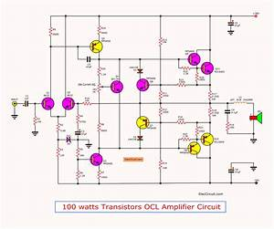 Free Wiring Diagram  Amplifier Power Watts Transistor Schematic