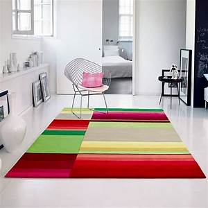 Tapis de salon colore 200 x 200 cm achat vente tapis for Tapis salon coloré