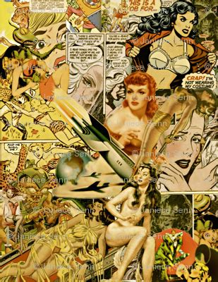 vintage sci fi comics collage  wallpaper whimzwhirled