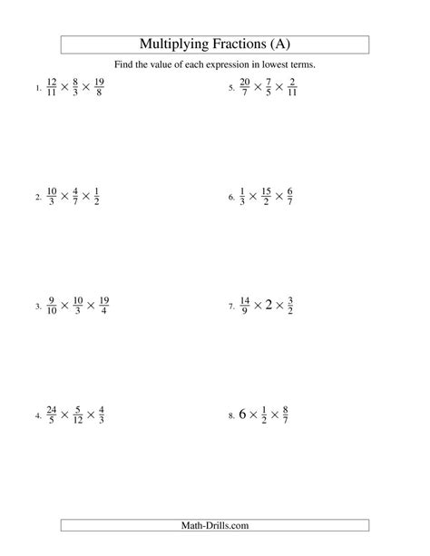 Multiplying And Simplifying Fractions With Some Whole Numbers And Three Terms (a