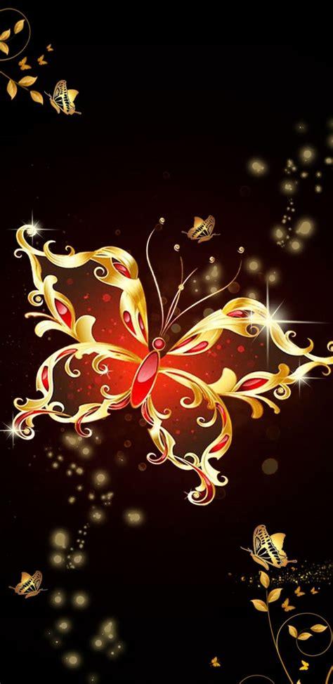 red gold butterfly butterfly wallpaper butterfly art