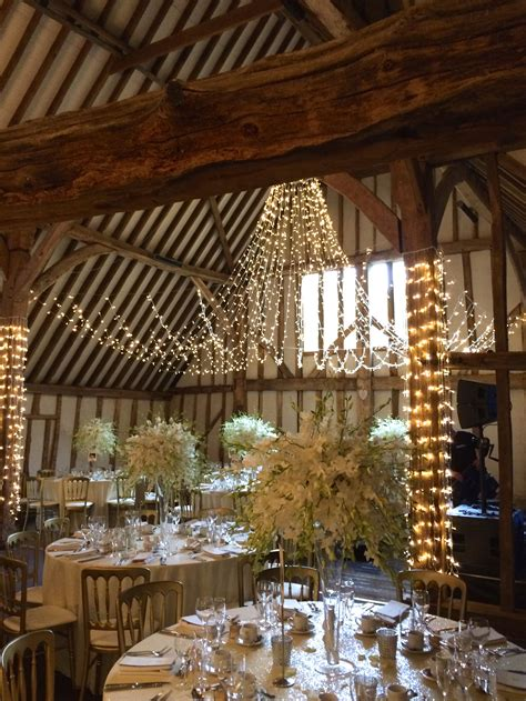 the 17th century essex barn ready for a wedding at blake