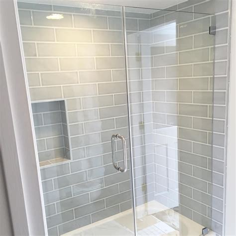 gray bathroom tile ideas gray blue large subway tile from home depot brand
