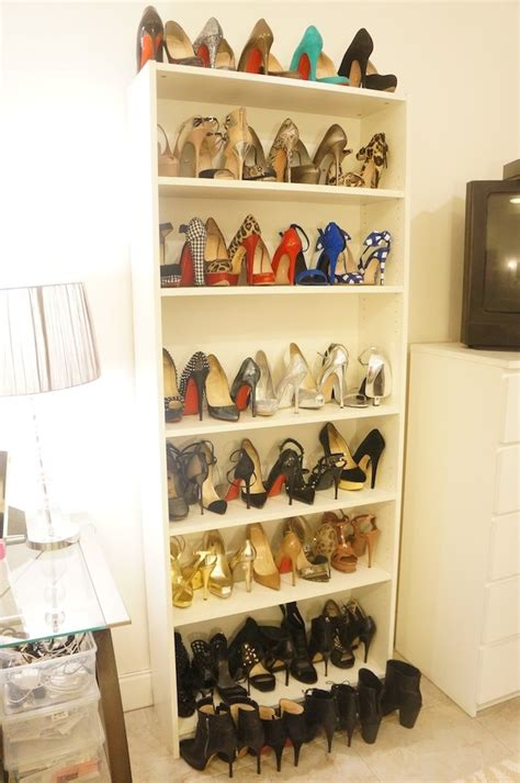 ikea billy bookcase shoes make room for more stilettos you ll gain more shelf space if one shoe is quot toe in quot and the other