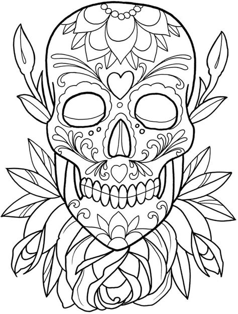 251 best Sugar Skulls + Day of the Dead Coloring Pages for Adults images on Pinterest