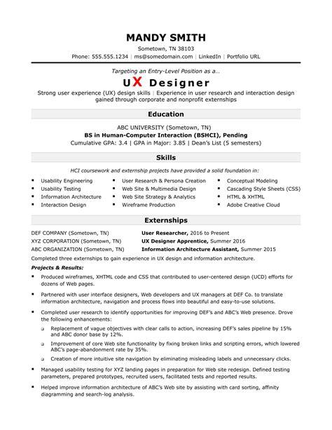 Sample Resume For An Entrylevel Ux Designer Monstercom