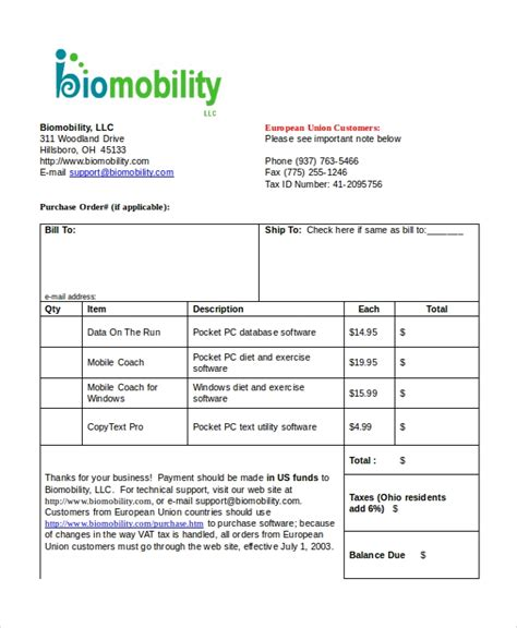 invoice template   word  document downloads