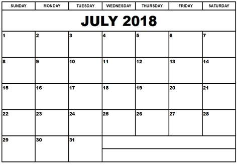 July 2018 Calendar Printable Templates  Site Provides