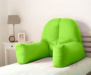 Lime cotton chloe bed reading pillow bean bag cushion arm for Backrest for reading in bed